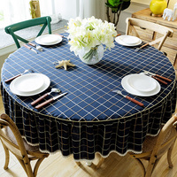Home Hotel Dining Cotton Table Cloth Round Tablecloth Table covers Home Decoration Grid Dinner Table Cloth