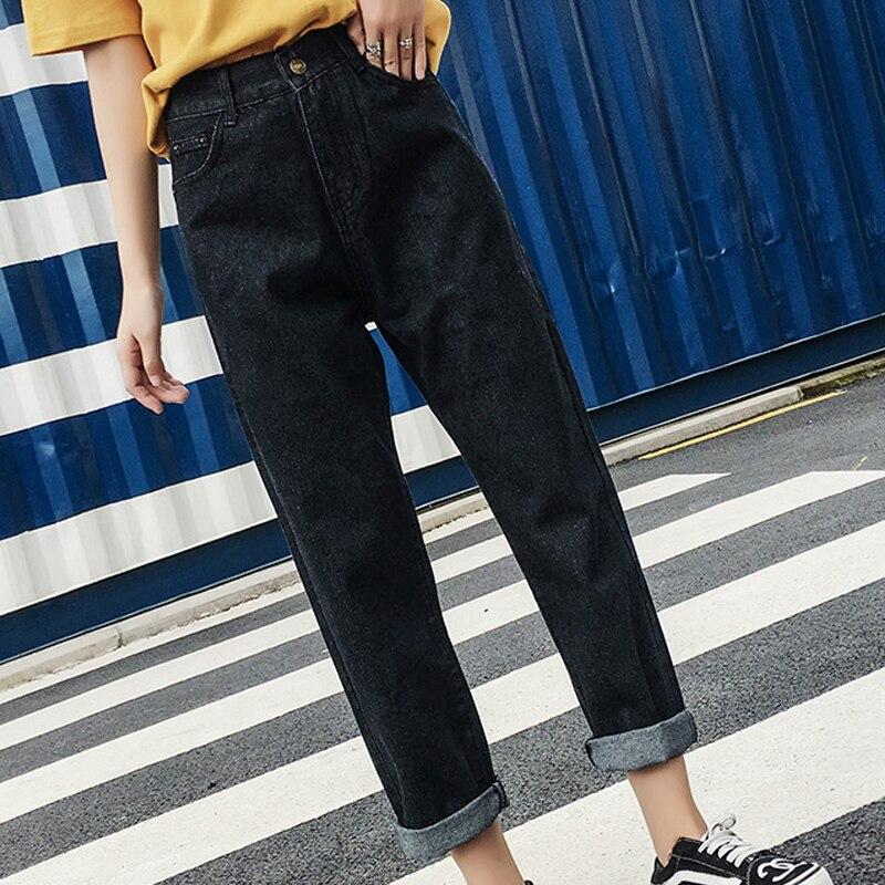Black Mom Jeans High Waisted Retro Women Casual Harem Pants Jeans Comfortble Fit 2018 De ...