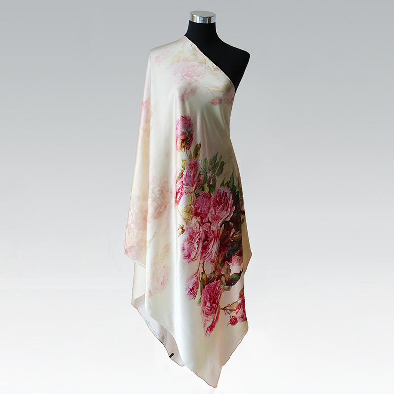 100% Silk Charmeuse Satin Scarf 85cmX195cm Luxury Long Shawl Natural Mulberry Silk Scarves New Autumn Winter Shawl Pink Rose