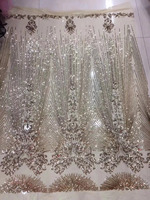 Free shipping (5yards/pc) fashion design French net lace fabric gold sequins embroidery lace fabric for shining dress FL3902