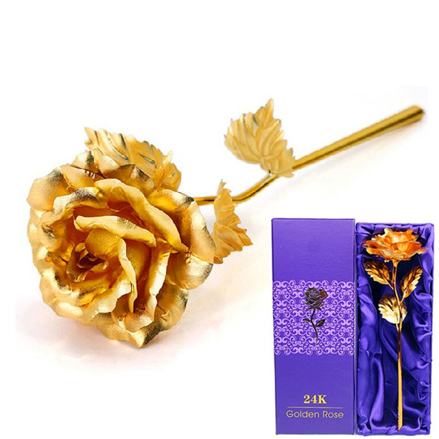 Lover Flowers 24k Gold Rose Home Decor Wedding Decoration Golden Flower Valentine S Day Decorations Gift
