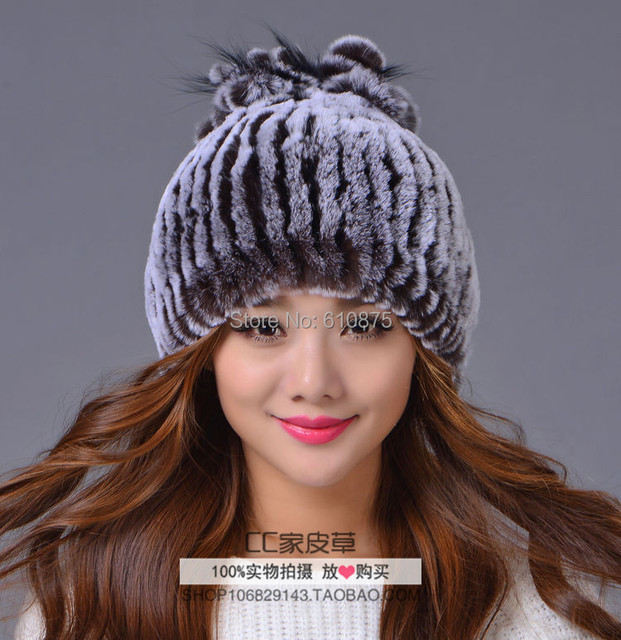 D50 Hot Sale High quality female autumn winter plus size new rabbit fur Skullies & Beanies hats Ear protection caps T