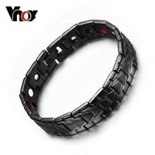 Vnox fresco hombres salud magnética pulseras y brazaletes pulseras brazaletes de acero inoxidable para los hombres negro para el regalo envío gratis