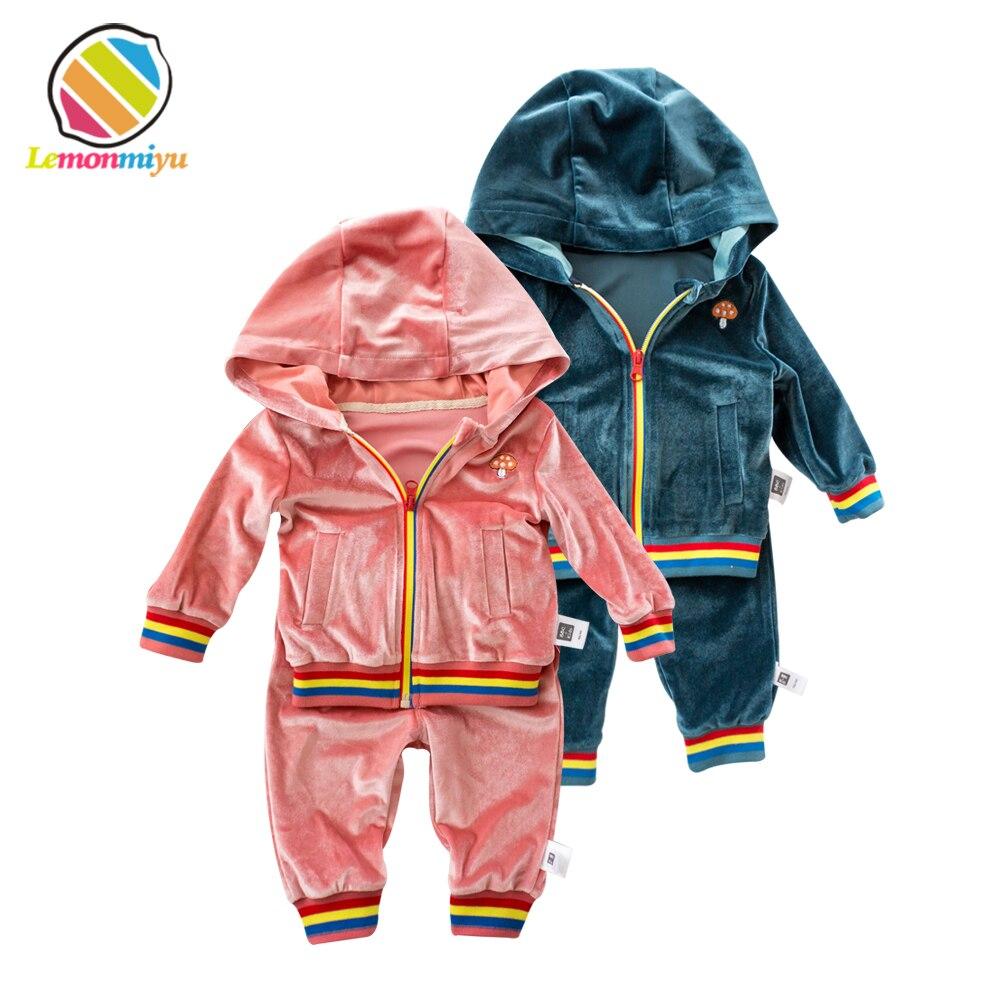 Lemonmiyu Toddler Velvet Suits 2pcs/set Hooded Top Long Pants 0-24M Full Sleeve Zipper Baby Boy Girl Sets Casual Infant Clothes 2pcs set baby clothes set boy