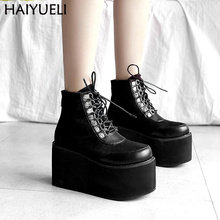 Botas Plataforma Autumn Women Ankle Boots Fashion 9cm Heel Platform Wedges Shoes For Women Harajuku Shoes Black Lace Up Shoes