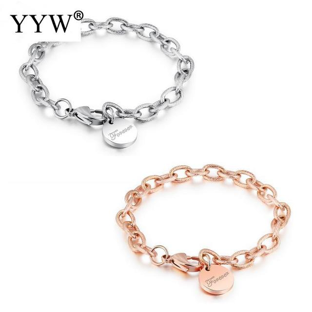2018 New Luxury Design Stainless Steel Round Word Love Forever Bracelets Bangles Pulsera Men Women
