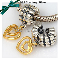 Free Shipping 100 925 Sterling Silver Pendant Heart Charms Beads Finding Accessories European Pandora Bracelet Necklace