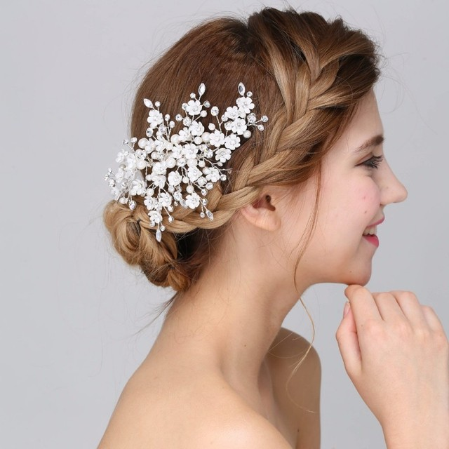 jonnafe new arrival handmade floral bridal hair accessories clip comb wedding headpiece pearl crystal tiara women