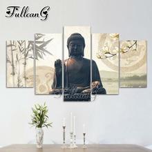 FULLCANG diy 5pcs/set diamond painting bamboo buddha flower full drill rhinestone cross stitch mosaic embroidery hobby G1011