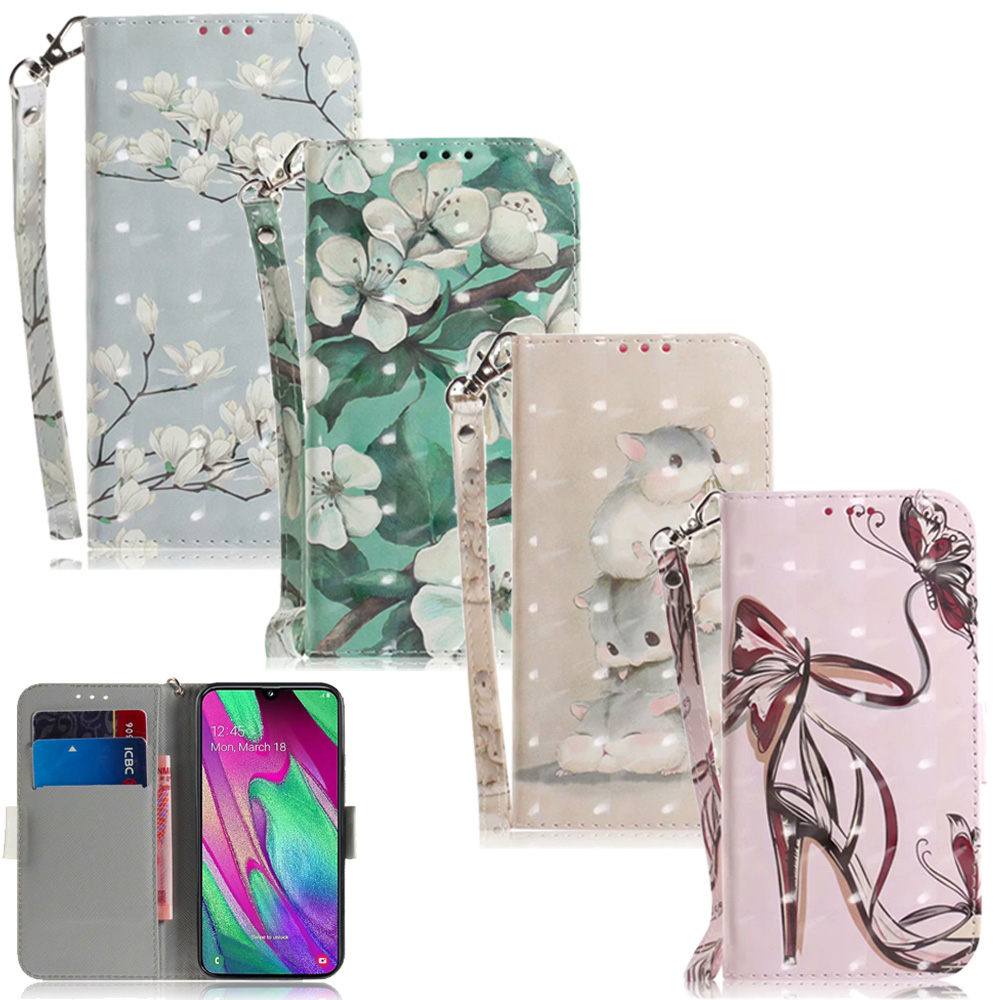 Flower <font><b>Leather</b></font> Wallet Bag For <font><b>Samsung</b></font> Galaxy S10 Plus S9 S8 A7 A9 2018 A10 A40 A30 A50 J4 J6 Plus <font><b>M10</b></font> M20 M30 <font><b>Case</b></font> Cartoon Cover image