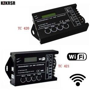 Image 1 - DC12 DC24V TC420/TC421 WiFi tiempo programable controlador regulador led RGB acuario iluminación temporizador Entrada 5 canales para tira de led