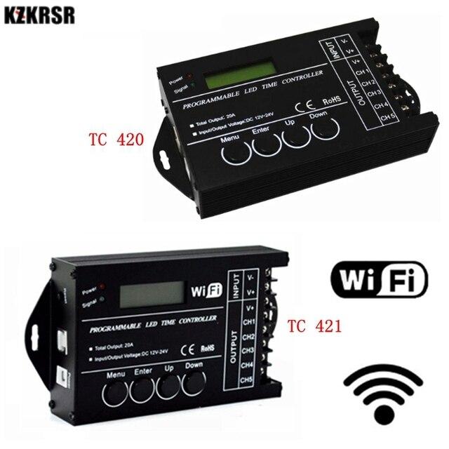 DC12 DC24V TC420/TC421 WiFi tiempo programable controlador regulador led RGB acuario iluminación temporizador Entrada 5 canales para tira de led