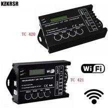 Dc12 dc24v tc420/tc421 wifi 시간 프로그래밍 가능한 led 컨트롤러 조광기 rgb 수족관 조명 타이머 입력 led 스트립 용 5 채널
