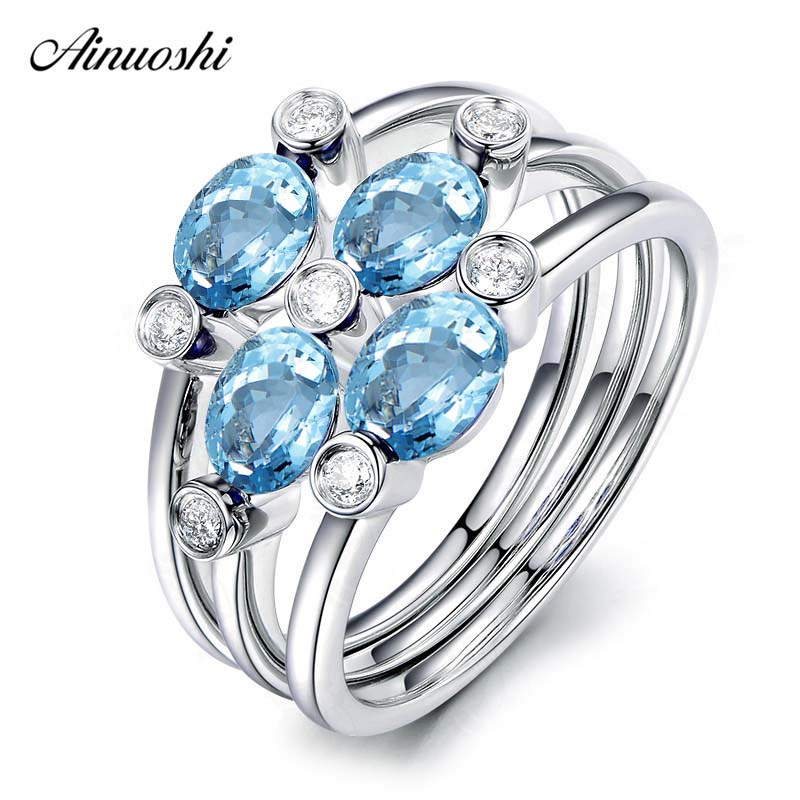 AINUOSHI 1 Carat Oval Cut Natural Topaz 3 Pcs Ring Set Genuine 925 Silver Natural Blue Topaz Ring Set Trendy Bridal Band walkera runner 250 pro z 20 runner 250 pro main control board fcs 250 runner 250 pro spare parts free track shipping