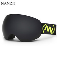 New NANDN Brand Ski Goggles Double Layers UV 400 Anti Fog Big Ski Mask Glasses Skiing