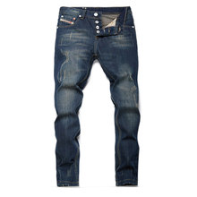 2019 Spring Ripped Mens Jeans Slim Destroyed Denim For Men Stylish Pure Cotton No Belt Mj019