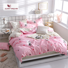 SlowDream Cartoon Bedding Set Duvet Cover Rabbit Pink Bedspread Fitted Sheet On Elastic Band Rubber Corners Euro Bed Linen