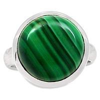 Genuine MALACHITE Ring 925 Sterling Silver Jewelry,USA Size :6,75, MHBAR3774
