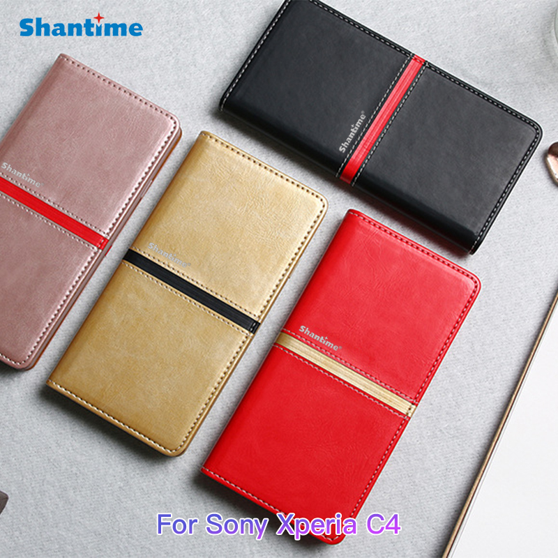 Pu Leather Book Case For Sony Xperia C4 Flip Case Soft Tpu Silicone Back Cover For Sony Xperia C4 Business Card Slots Phone Case