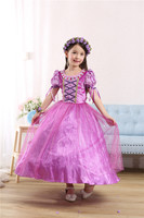 Fashion cute cartoon 5 to 13 years birthday girl party dresses 3 pcs rapunzel costume for kids birthday