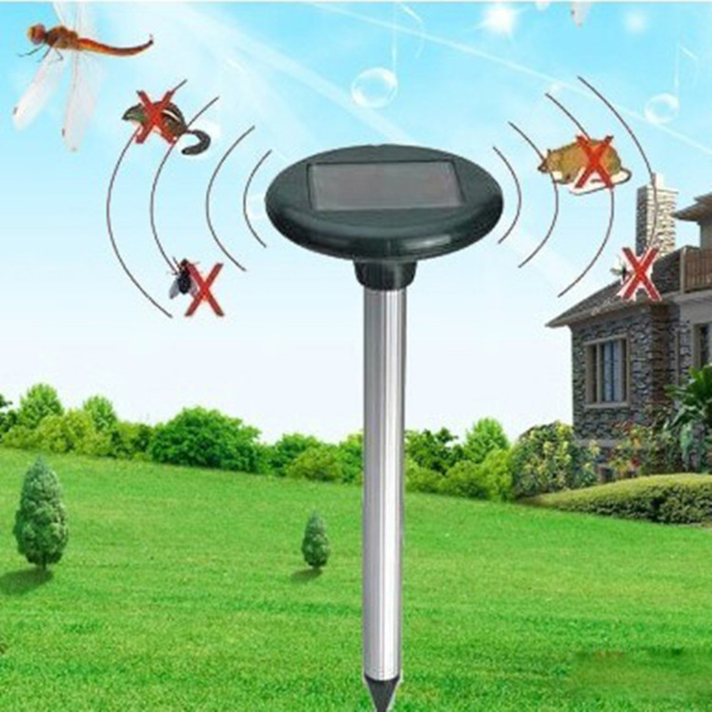 2pcs/set New Outdoor Ultrasonic Solar Powered Repeller Waterproof Anti Mosquito Snake Electronic Mole Repeller Repellents     - title=