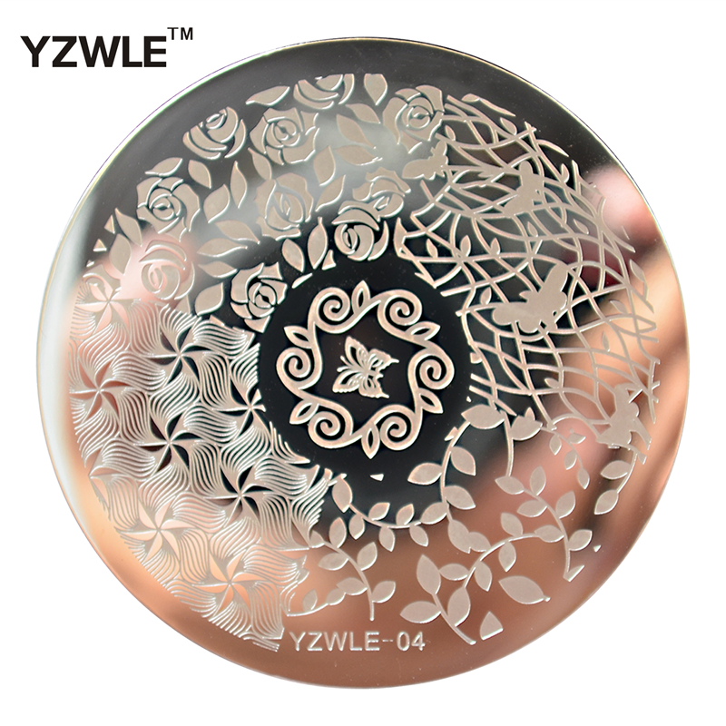 YZWLE 1 Sheet Stamping Nail Art Image Plate, 5.6cm Stainless Steel Template Polish Manicure Stencil Tools (YZWLE-04)