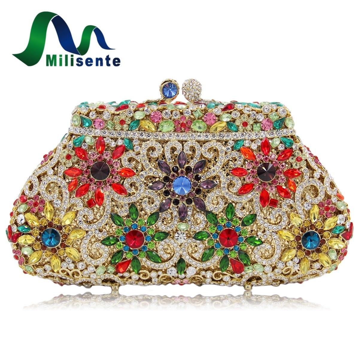 Fashion Women Flower Crystal Evening Bags Wedding Clutches Purse Party Handbags Gold Silver Purple Black Wholesale стоимость