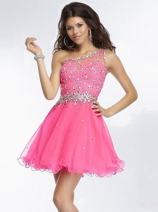 junior tulle one shoulder dresses