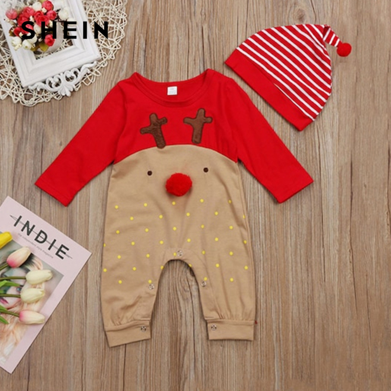 SHEIN Kiddie Toddler Boys Cartoon Print Jumpsuit With Striped Hat Children 2019 Spring Fashion Embroidery Long Casual Jumpsuits calico print striped design backpack