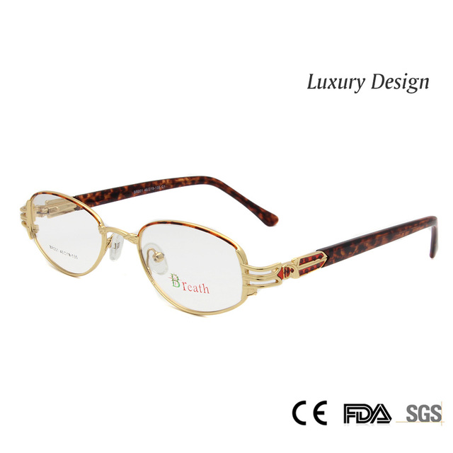 Luxo de Ouro das Mulheres Óculos Frame Ótico Óculos Quadro Feminino Pequeno Oval de Alta Qualidade oculos lentes opticos mujer