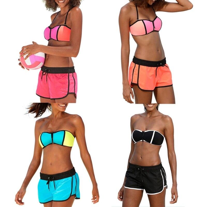 Femmes à bretelles Push Up soutien-gorge taille basse Shorts Bikini ensemble deux pièces maillot de bain maillots de bain UNS-OKLE