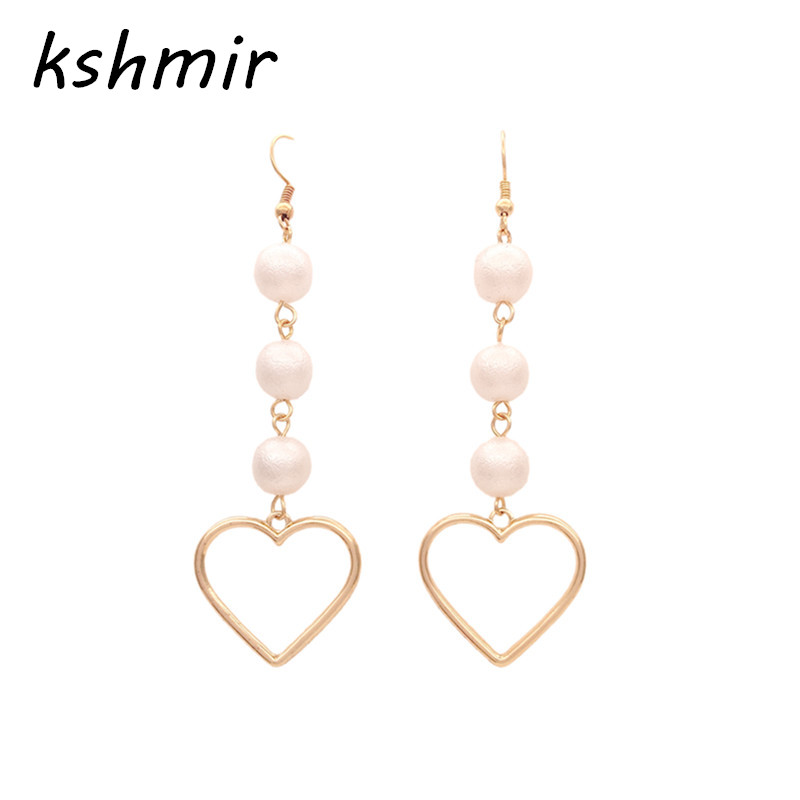 The new heart pearl pendant fashion simple earrings long heart-shaped girl party accessories
