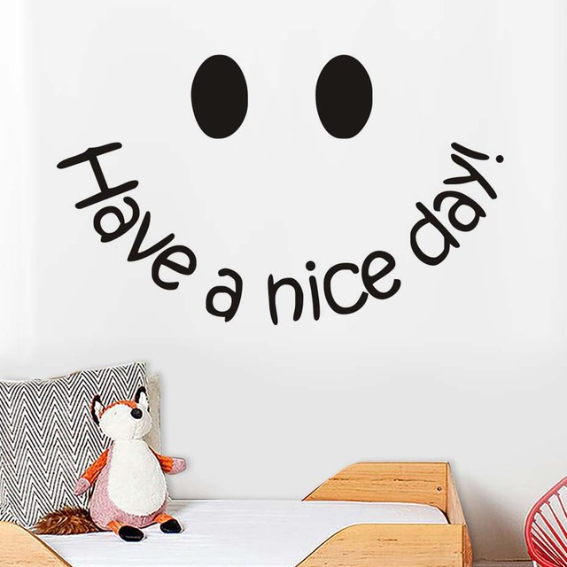 Have A Nice Day Wall Sticker Smile Face Simple Quote