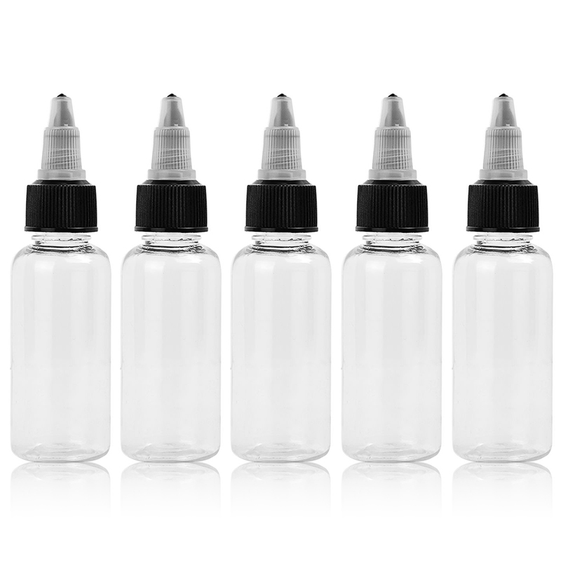 5pcs 30ml/60ml Plastic Clear Round Empty Bottle Container For Tattoo Ink Color Pigment With Cap Tattoo Accessories