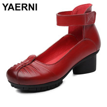 YAERNI 2018 Summer New Vintage Pleated Women Sandals Genuine Leather Ladies Casual Shoes High Heels Party Shoes E475(China)