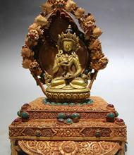 Старый Непал Бронзовый Золотой Свинка Gem Ваджрадхара Ваджрабхайравы Богиня Статуя Будды