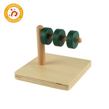 Montessori Kids Toy High-Quality Wooden Discs on Horizontal Dowel Educational Early Learning