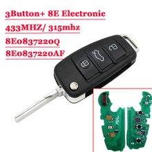 315/433 МГц с 8E электронный чип P/N: 8E0 837 220Q Af флип ключ 3 кнопки дистанционного, автомобильные аксессуары, брелок для автомобиля Audi A6L 8E0837220Q