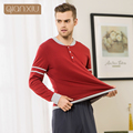 Qianxiu пижамы для мужчин 95% хлопок чистый цвет сшивание v-образным вырезом кнопка изменить популярные мужские пижамы