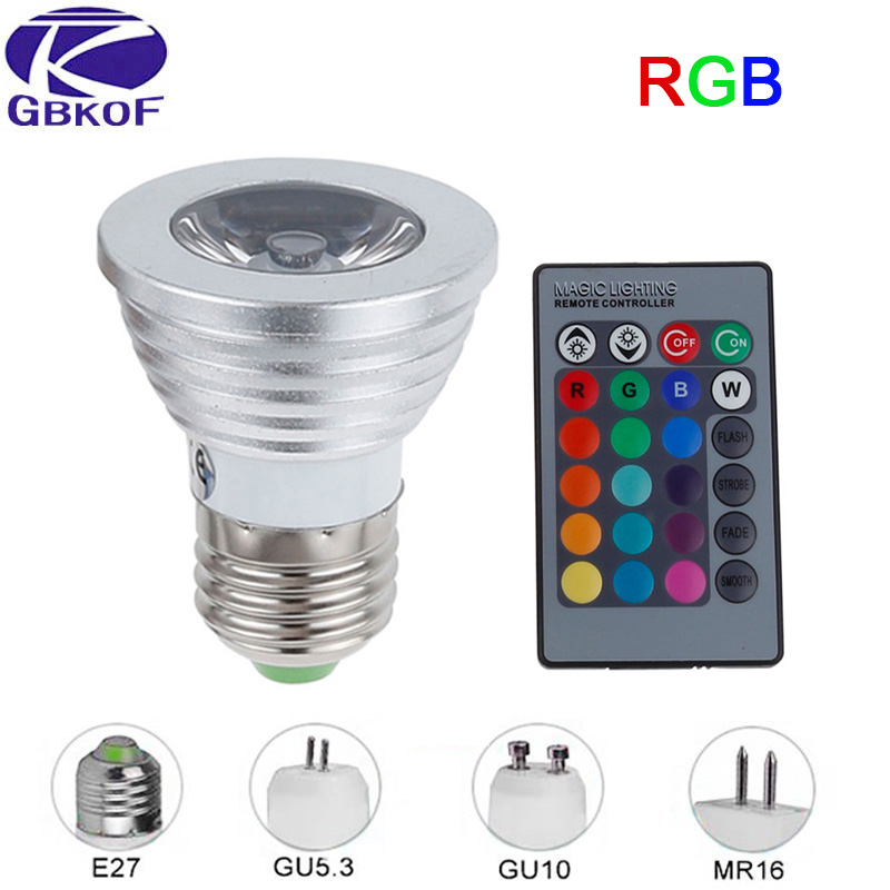 E27 RGB LED Lamp 3W E14 MR16 GU10 GU5.3 LED Bulb AC 85-265V RGB Spotlight High Power 16 Color IR Remote Controller Bulbs Decor zweihnder gu10 3w 220lm rgb ir remote control dimming led lamp white silver 85 265v