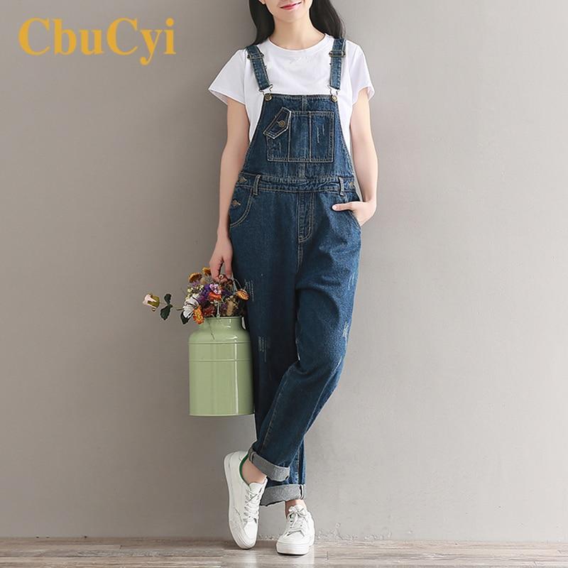 Casual Women Oversized Suspender Pants Jumpsuit Jeans Bib Overalls Baggy Romper