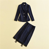 2017 Runway Suit Set Women's 2 Two Piece Fashion Purple Blue Long Sleeve Stripe Formal Blouses And Mid Calf Skirt Suit Sets Work