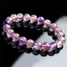 Natural Purple Rutilated Quartz Crystal Super Seven Melody Stone Stretch Crystal Round Bead Bracelet 9mm цена и фото