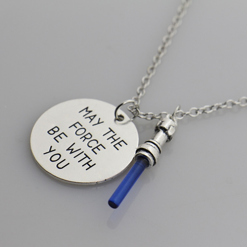 Star Wars May the force be with you Pendant Necklace,the Sword of Light Lightsaber Pendant Movie Jewelry Sweather chain
