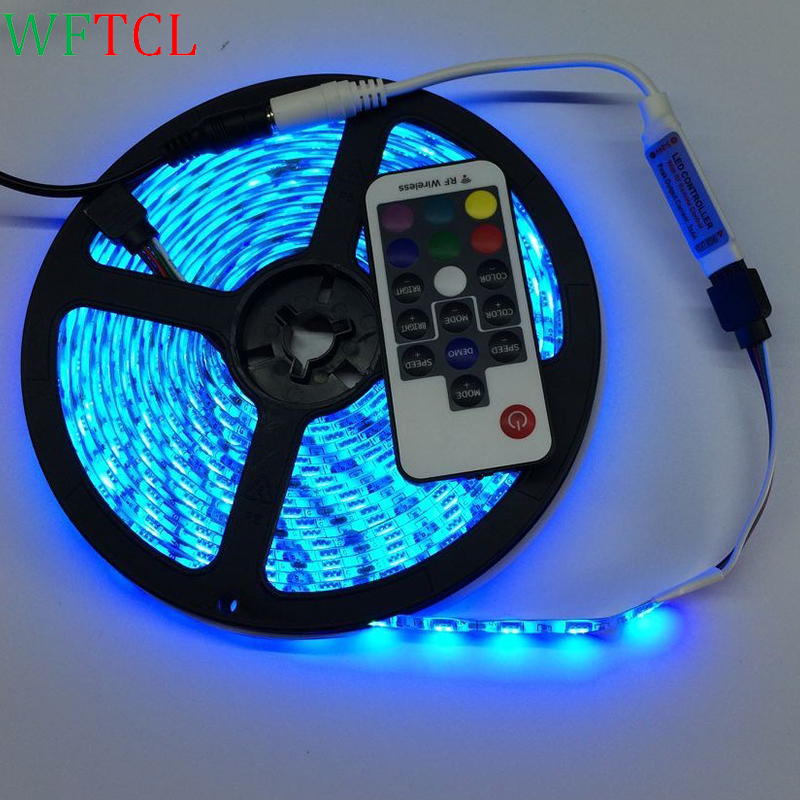 WFTCL RGB LED strip led light waterproof 5050 SMD led tape diode ribbon flexible DC 12V 5m IR MINI controller