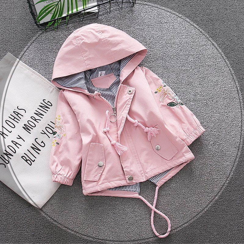 Spring and Autumn Children's Clothes, Hooded Girls Coat Embroidery Tri-coloured Windshirts, 0-3 Years Old(China)