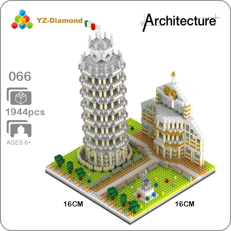 YZ 066 World Famous Architecture Leaning Tower of Pisa 3D Model Mini Diamond Building Nano Blocks Bricks Toy for Children no BoxYZ 066 World Famous Architecture Leaning Tower of Pisa 3D Model Mini Diamond Building Nano Blocks Bricks Toy for Children no Box
