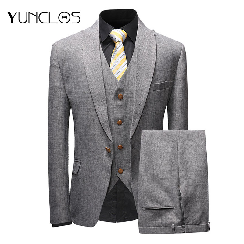 YUNCLOS  New Arrival Men Suits Solid Color 3 Pieces Suit Set Shawl Collar Groomsman Wedding Suits Tuxedo Party Dress