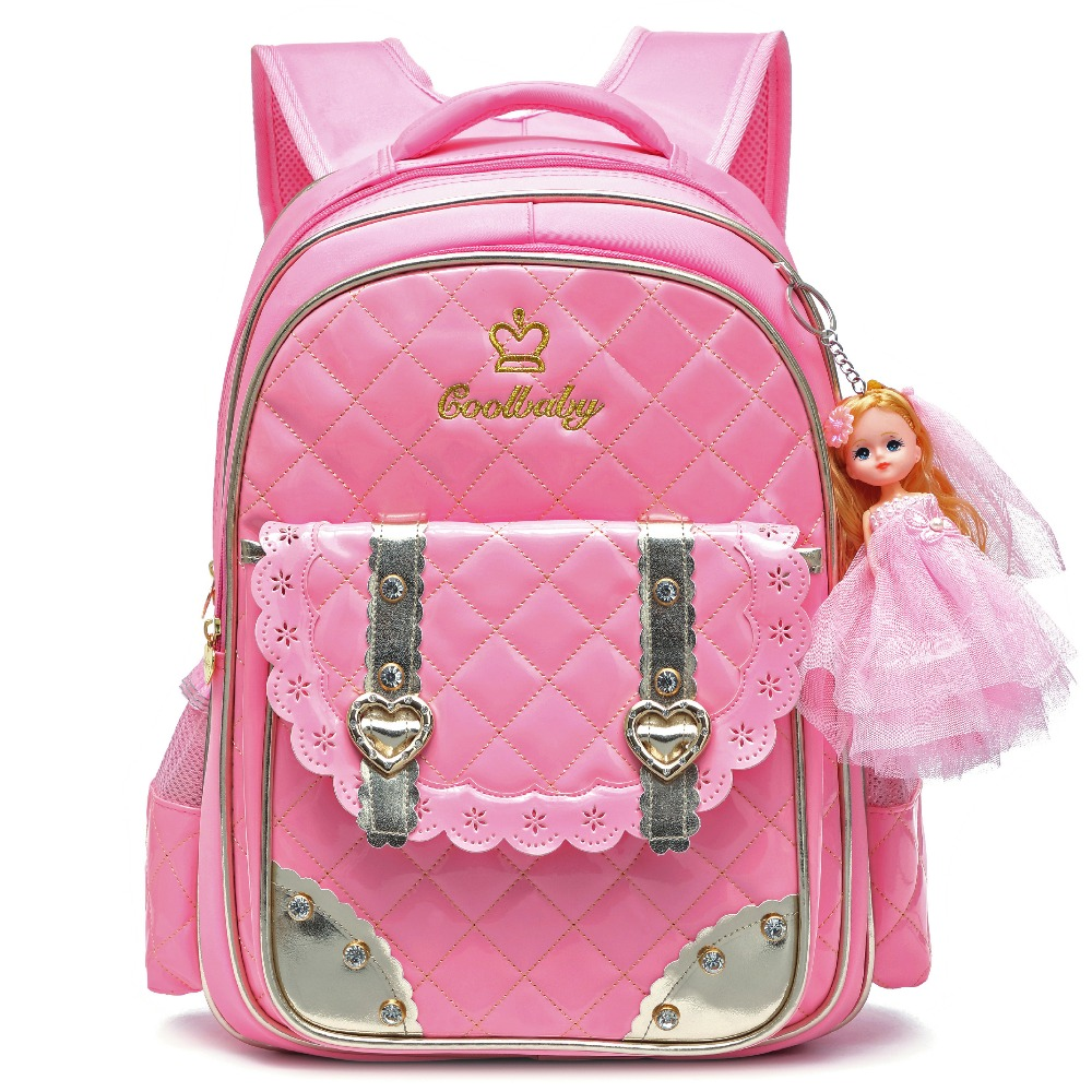 Waterproof PU Leather Pink Backpack for Girls Princess Backpacks for Kindergarten Toddle ...