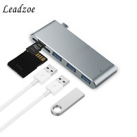 USB C Hub,Leadzoe Type C 5 in 1 Adapter with SD/Micro SD/TF Smart Card Reader &3 Port USB 3.0 Hub Splitter for Macbook Laptop